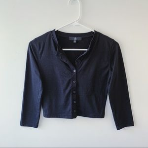 Button Up Cropped Long Sleeve